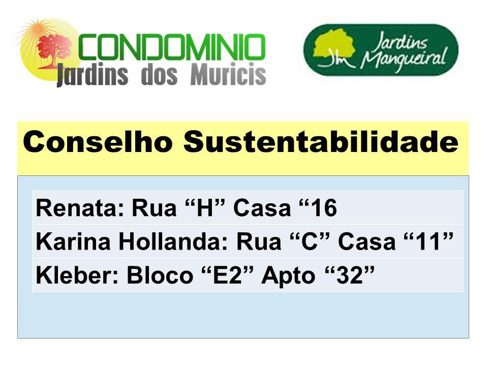Conselho Sustentabilidade Renata: Rua H Casa 16 Karina Hollanda: Rua C Casa 11 Kleber: Bloco E2 Apto 32