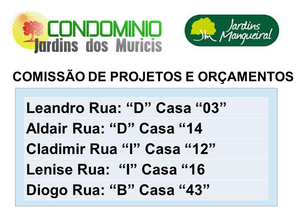 COMISSÃO DE PROJETOS E ORÇAMENTOS Leandro Rua: D Casa 03 Aldair Rua: D Casa 14 Cladimir Rua I Casa 12 Lenise Rua: I Casa 16 Diogo Rua: B Casa 43