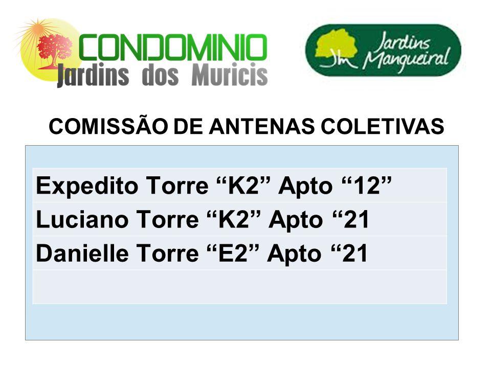 COMISSÃO DE ANTENAS COLETIVAS Expedito Torre K2 Apto 12 Luciano Torre K2 Apto 21 Danielle Torre E2 Apto 21