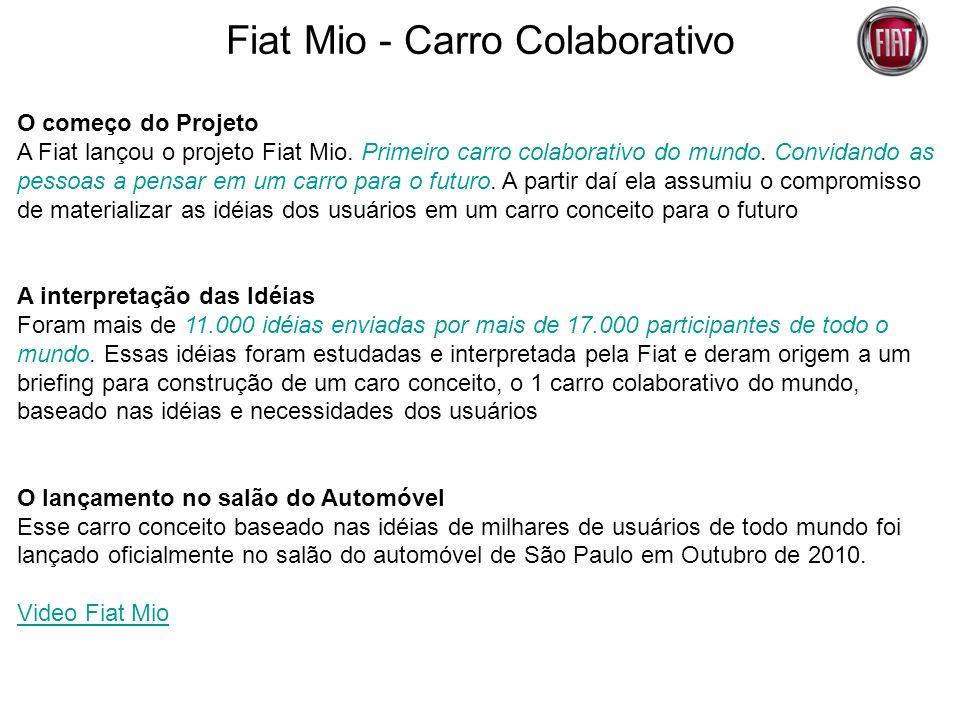 Fiat Mio - Carro Colaborativo O começo do Projeto A Fiat lançou o projeto Fiat Mio. Primeiro carro colaborativo do mundo. Convidando as pessoas a pens