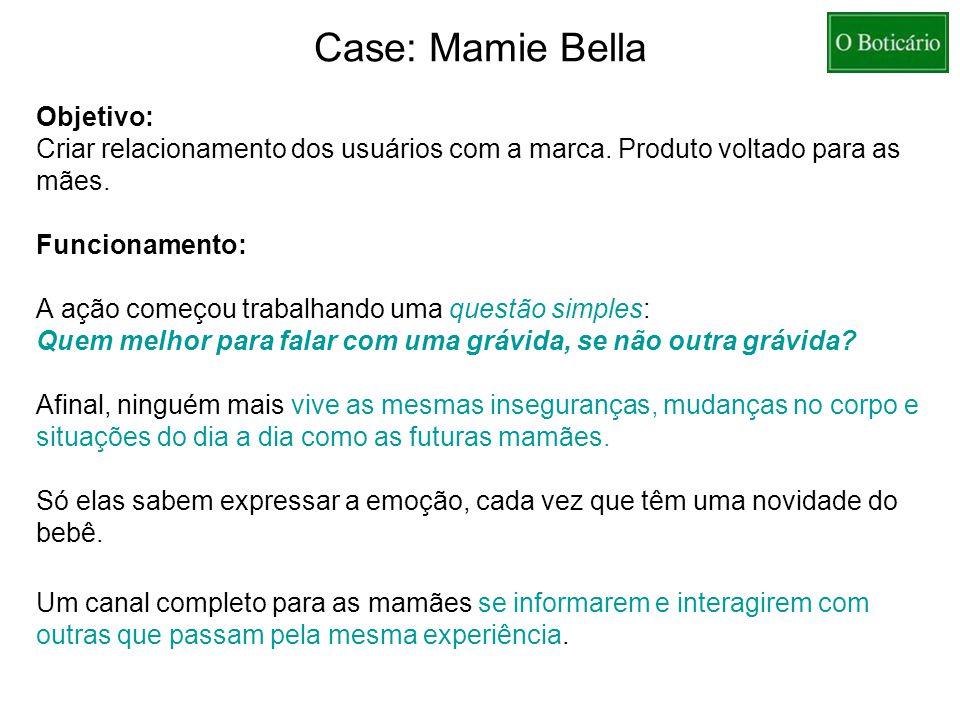 Case: Mamie Bella Objetivo: Criar relacionamento dos usuários com a marca. Produto voltado para as mães. Funcionamento: A ação começou trabalhando uma