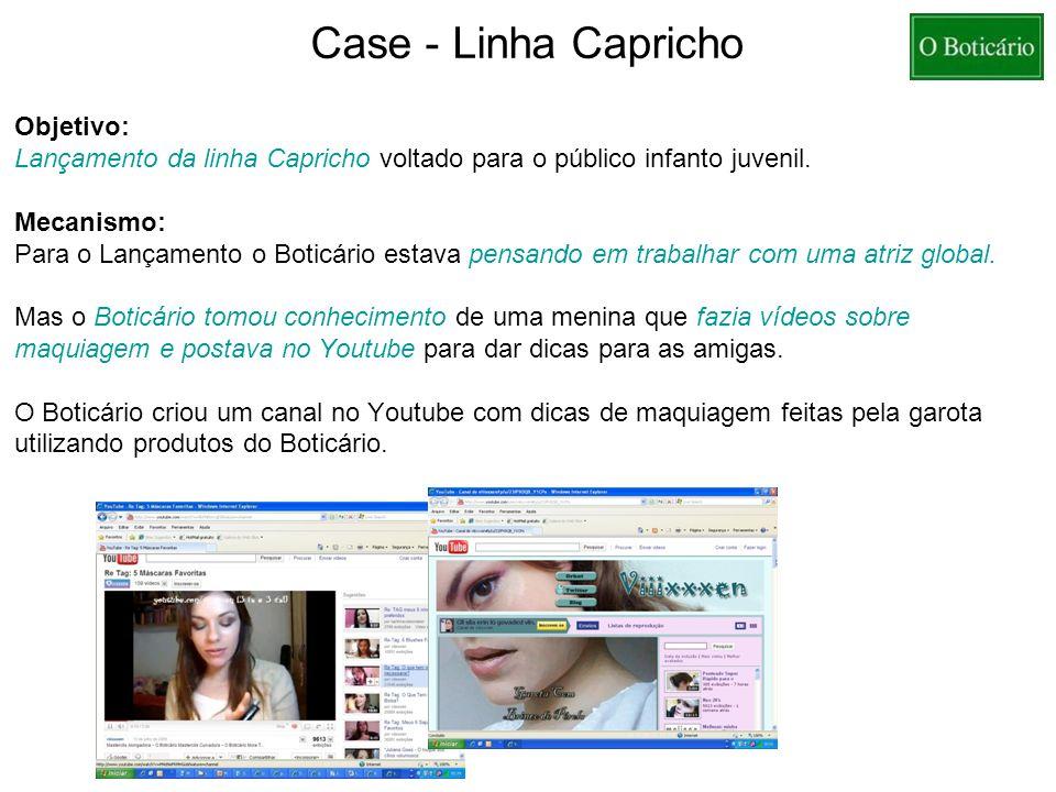 Case - Linha Capricho Objetivo: Lançamento da linha Capricho voltado para o público infanto juvenil. Mecanismo: Para o Lançamento o Boticário estava p