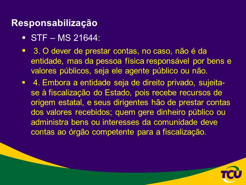 Responsabilização STF – MS 21644: 3. O dever de prestar contas, no caso, não é da entidade, mas da pessoa física responsável por bens e valores públic
