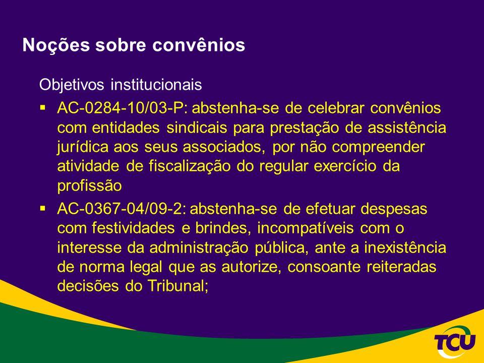 Noções sobre convênios Objetivos institucionais AC-0284-10/03-P: abstenha-se de celebrar convênios com entidades sindicais para prestação de assistênc
