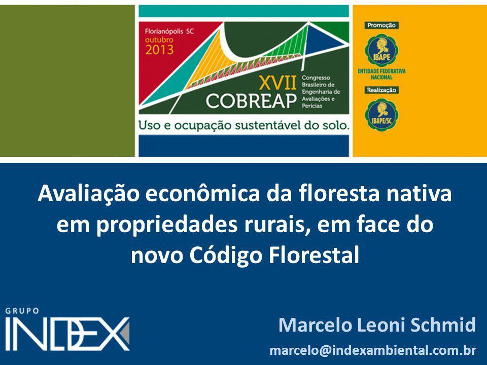 Avaliação econômica da floresta nativa em propriedades rurais, em face do novo Código Florestal Marcelo Leoni Schmid marcelo@indexambiental.com.br