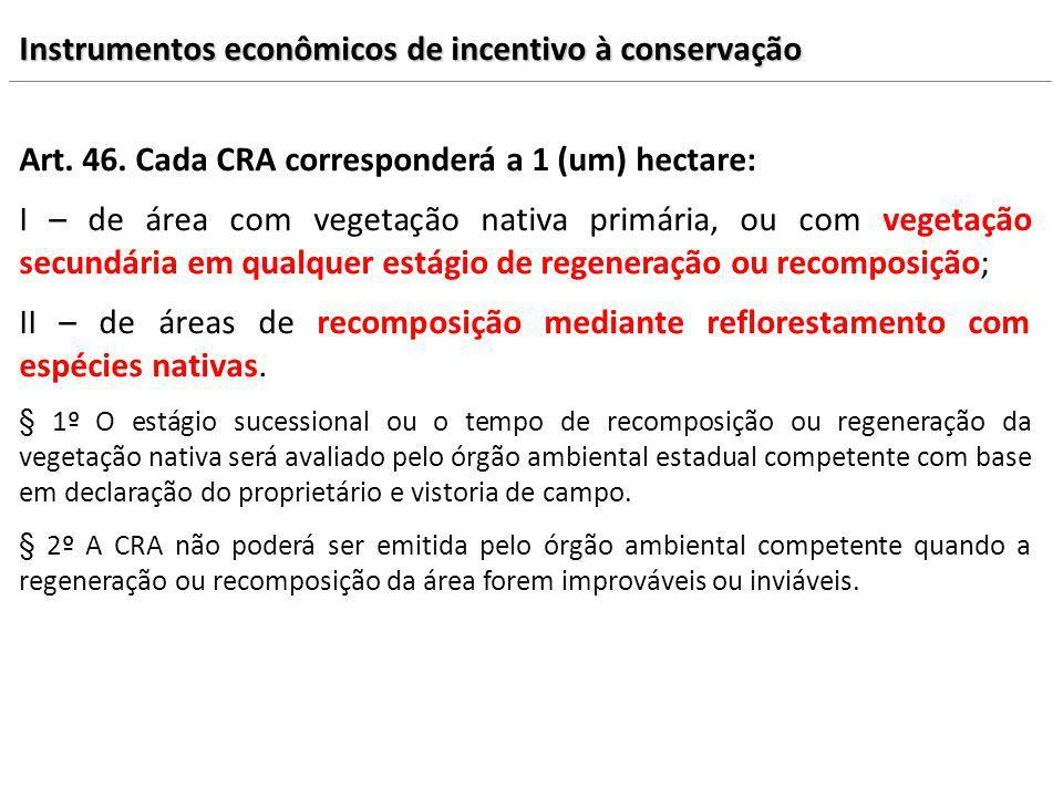 Art. 46. Cada CRA corresponderá a 1 (um) hectare: I – de área com vegetação nativa primária, ou com vegetação secundária em qualquer estágio de regene