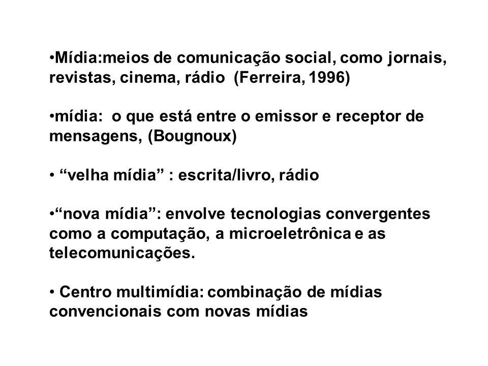 Mídia:meios de comunicação social, como jornais, revistas, cinema, rádio (Ferreira, 1996) mídia: o que está entre o emissor e receptor de mensagens, (Bougnoux) velha mídia : escrita/livro, rádio nova mídia: envolve tecnologias convergentes como a computação, a microeletrônica e as telecomunicações.