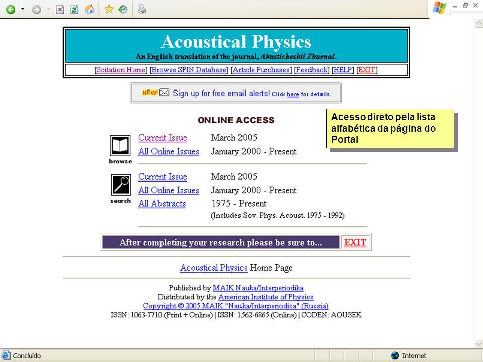 Acesso direto pela lista alfabética da página do Portal