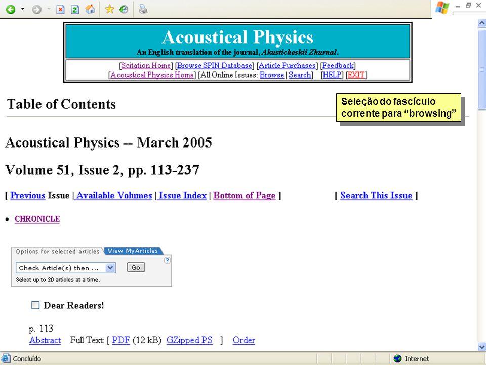Seleção do fascículo corrente para browsing