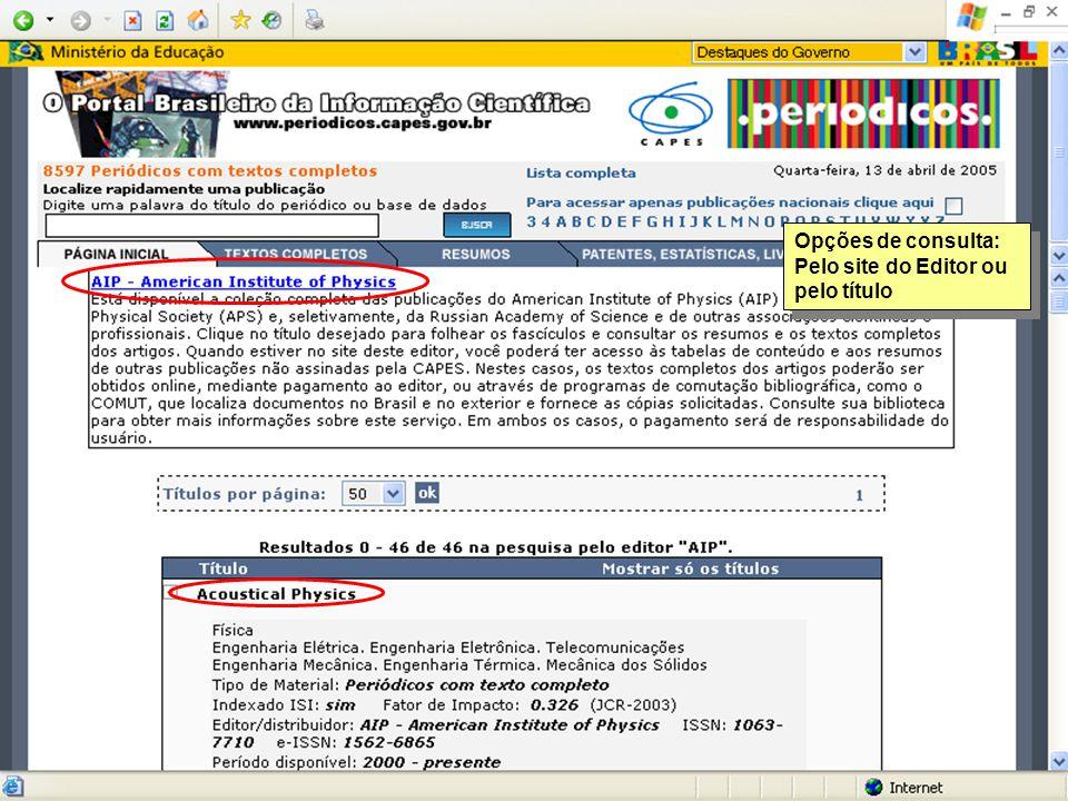Opções de consulta: Pelo site do Editor ou pelo título