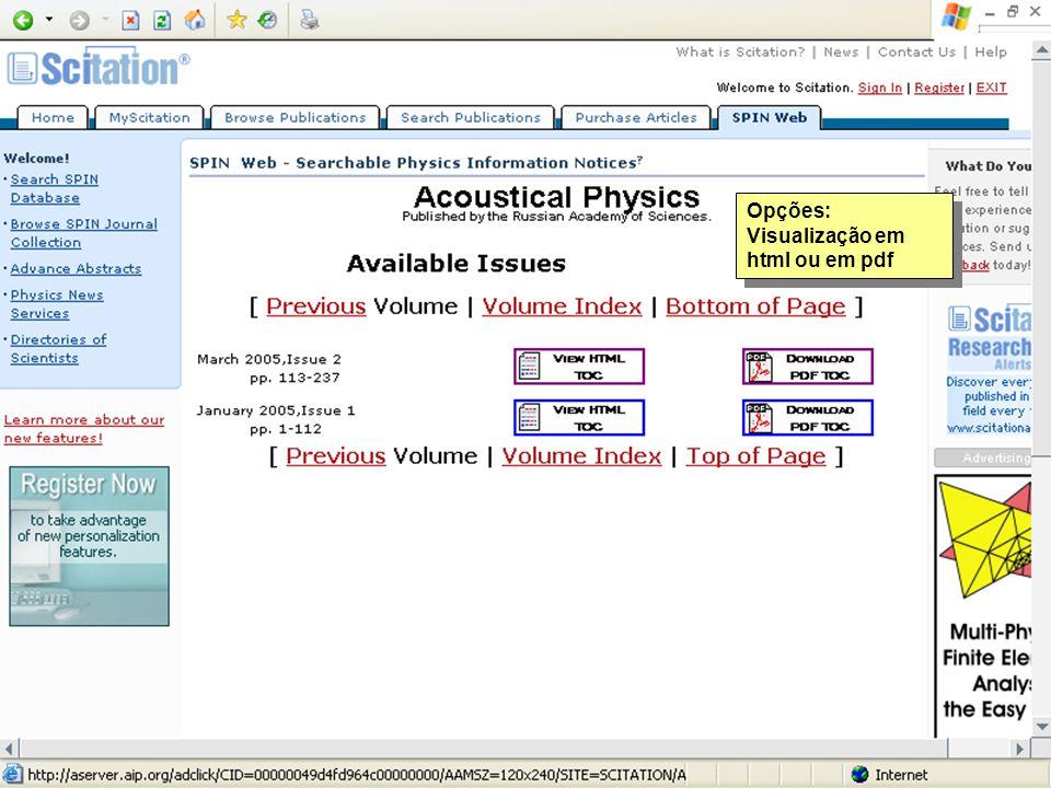 Opções: Visualização em html ou em pdf