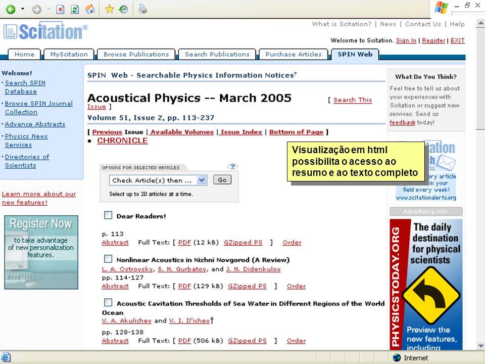 Visualização em html possibilita o acesso ao resumo e ao texto completo