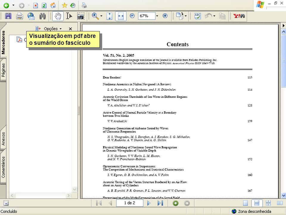 Visualização em pdf abre o sumário do fascículo