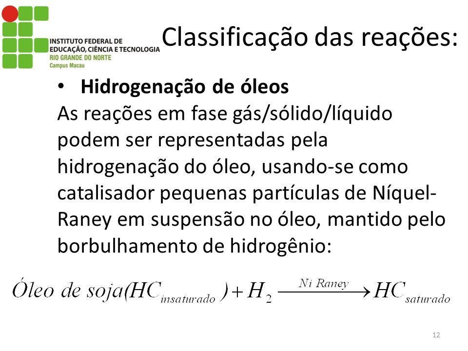 Classificação das reações: Hidrogenação de óleos As reações em fase gás/sólido/líquido podem ser representadas pela hidrogenação do óleo, usando-se como catalisador pequenas partículas de Níquel- Raney em suspensão no óleo, mantido pelo borbulhamento de hidrogênio: 12