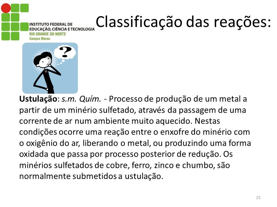 Classificação das reações: 15 Ustulação: s.m. Quím. - Processo de produção de um metal a partir de um minério sulfetado, através da passagem de uma co