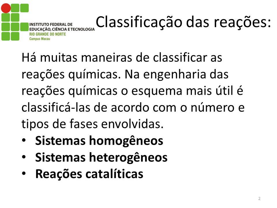 Classificação das reações: Há muitas maneiras de classificar as reações químicas. Na engenharia das reações químicas o esquema mais útil é classificá-