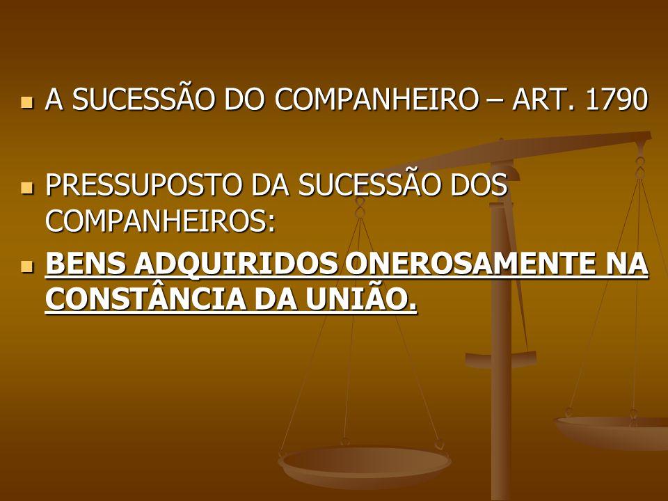 A SUCESSÃO DO COMPANHEIRO – ART. 1790 A SUCESSÃO DO COMPANHEIRO – ART. 1790 PRESSUPOSTO DA SUCESSÃO DOS COMPANHEIROS: PRESSUPOSTO DA SUCESSÃO DOS COMP