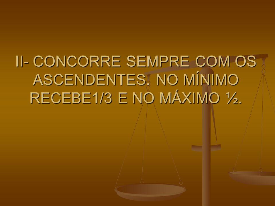 II- CONCORRE SEMPRE COM OS ASCENDENTES. NO MÍNIMO RECEBE1/3 E NO MÁXIMO ½.