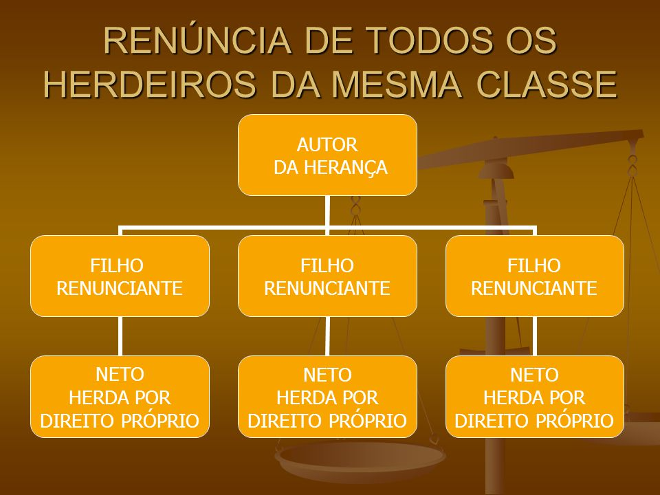 RENÚNCIA DE TODOS OS HERDEIROS DA MESMA CLASSE AUTOR DA HERANÇA FILHO RENUNCIANTE NETO HERDA POR DIREITO PRÓPRIO FILHO RENUNCIANTE NETO HERDA POR DIRE