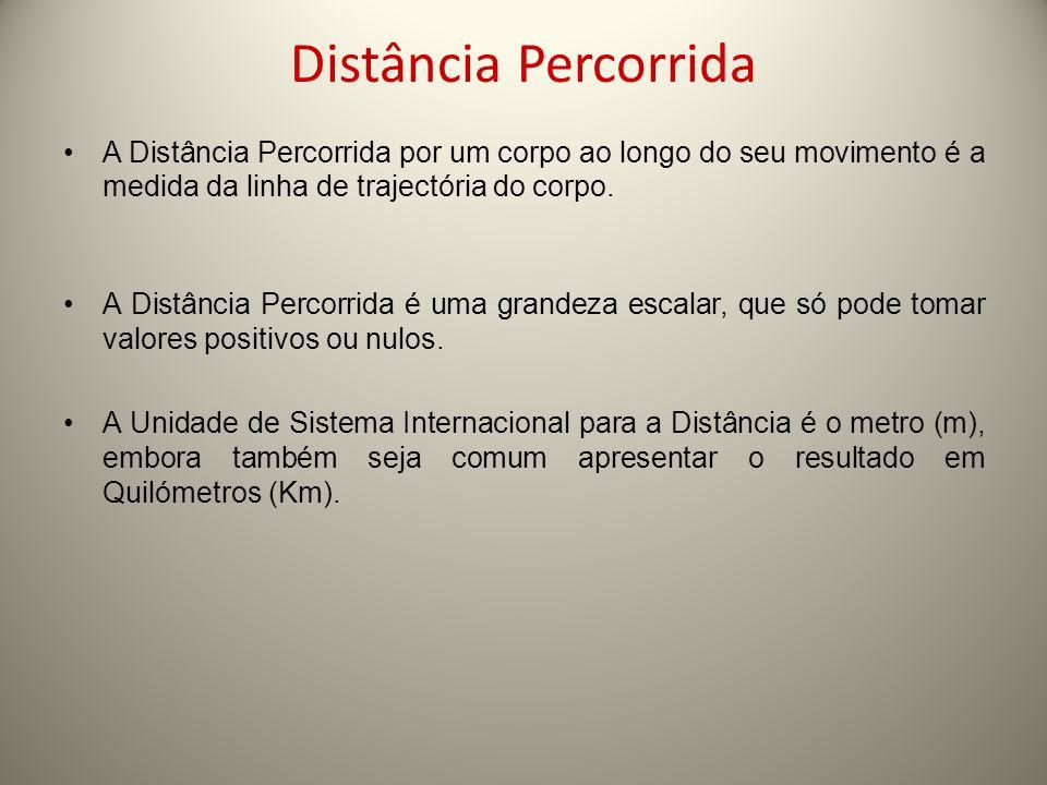 Distância Percorrida A Distância Percorrida por um corpo ao longo do seu movimento é a medida da linha de trajectória do corpo.