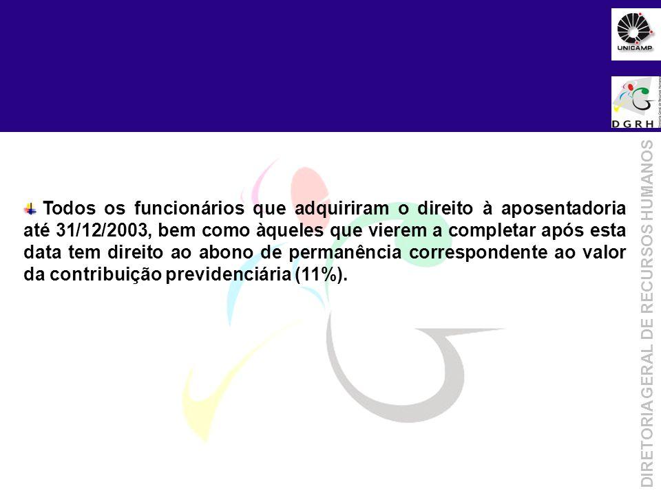 Objetivo da Metodologia DIRETORIA GERAL DE RECURSOS HUMANOS Todos os funcionários que adquiriram o direito à aposentadoria até 31/12/2003, bem como àq