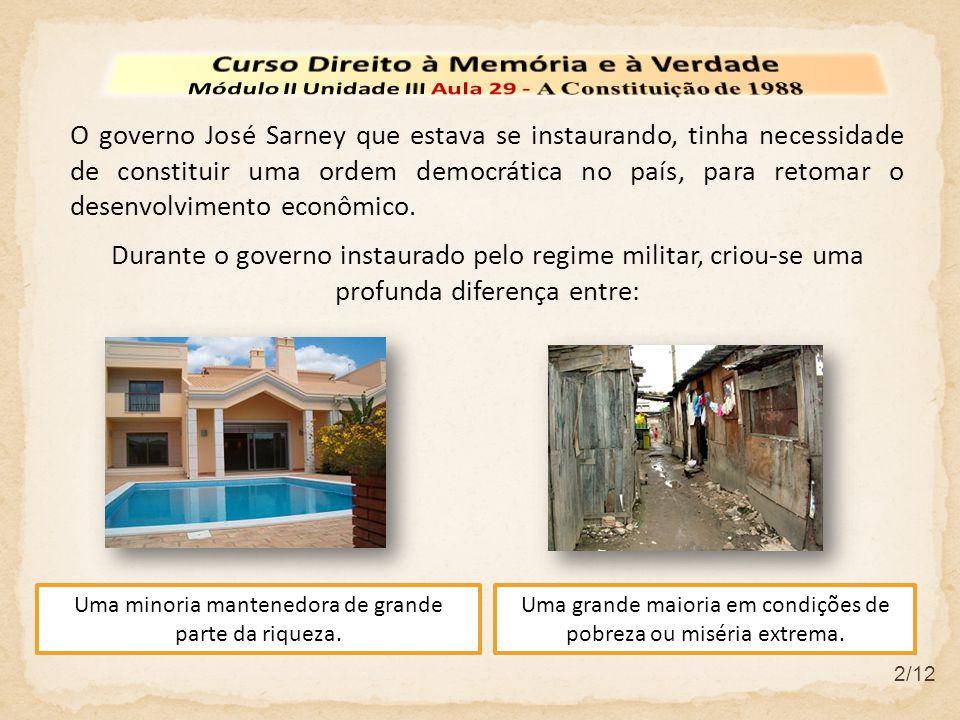 2/12 O governo José Sarney que estava se instaurando, tinha necessidade de constituir uma ordem democrática no país, para retomar o desenvolvimento ec