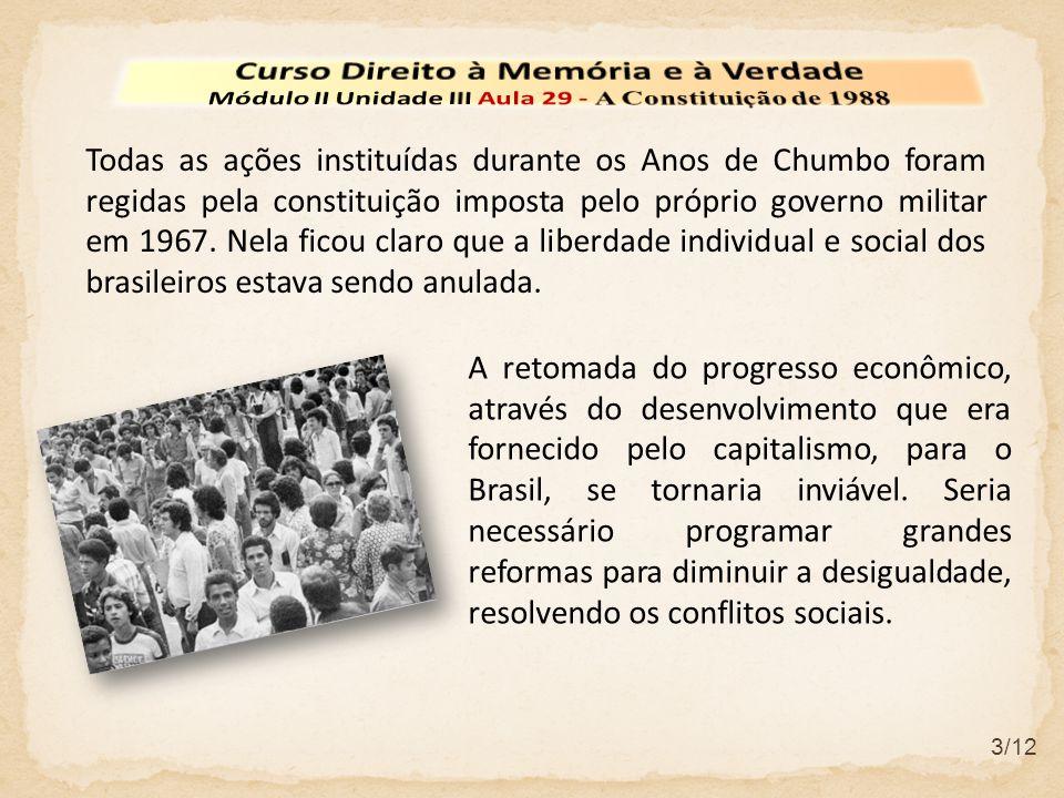 3/12 Todas as ações instituídas durante os Anos de Chumbo foram regidas pela constituição imposta pelo próprio governo militar em 1967. Nela ficou cla