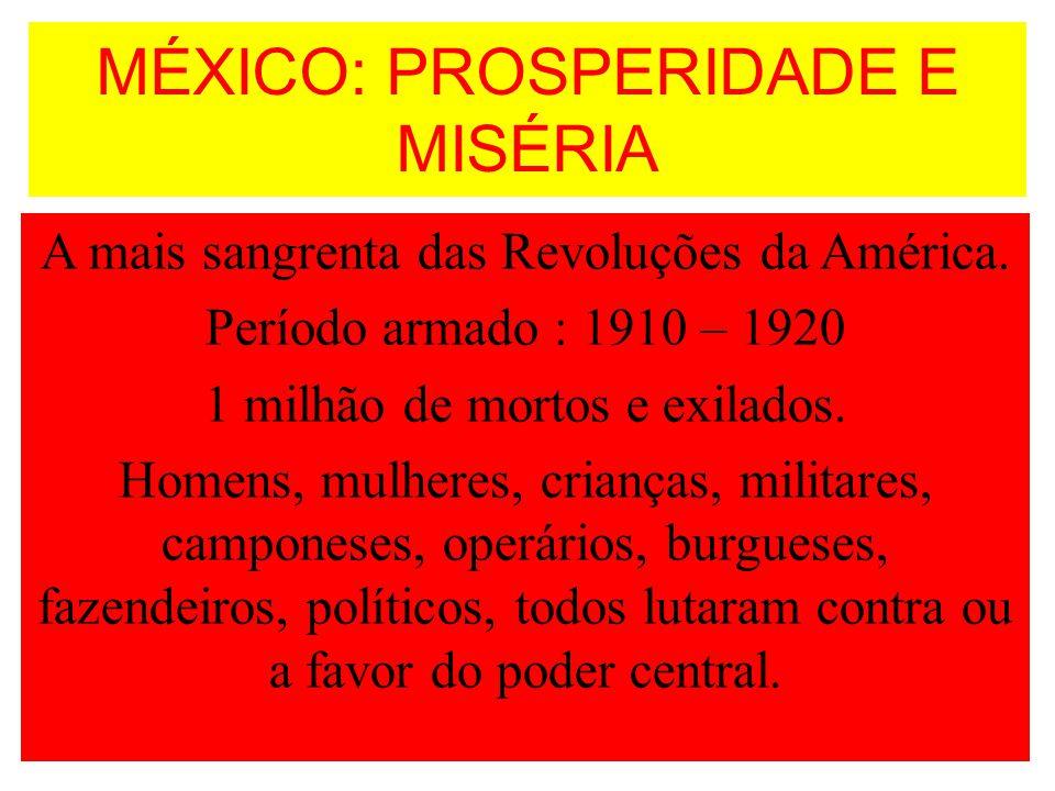 MÉXICO: PROSPERIDADE E MISÉRIA A mais sangrenta das Revoluções da América. Período armado : 1910 – 1920 1 milhão de mortos e exilados. Homens, mulhere