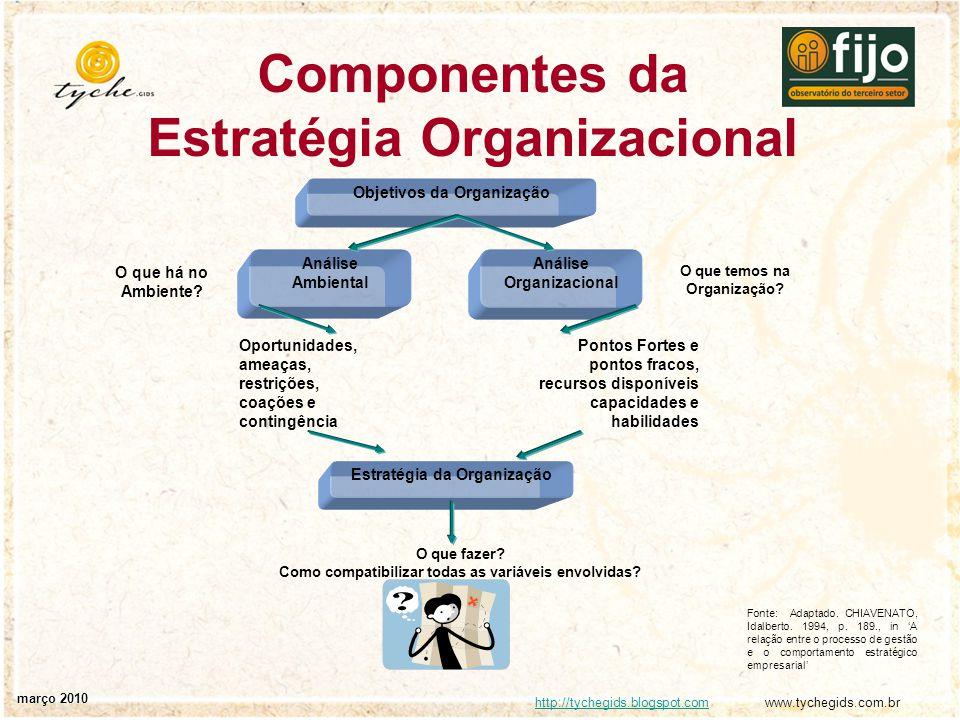 http://tychegids.blogspot.comhttp://tychegids.blogspot.com www.tychegids.com.br março 2010 Componentes da Estratégia Organizacional O que há no Ambien