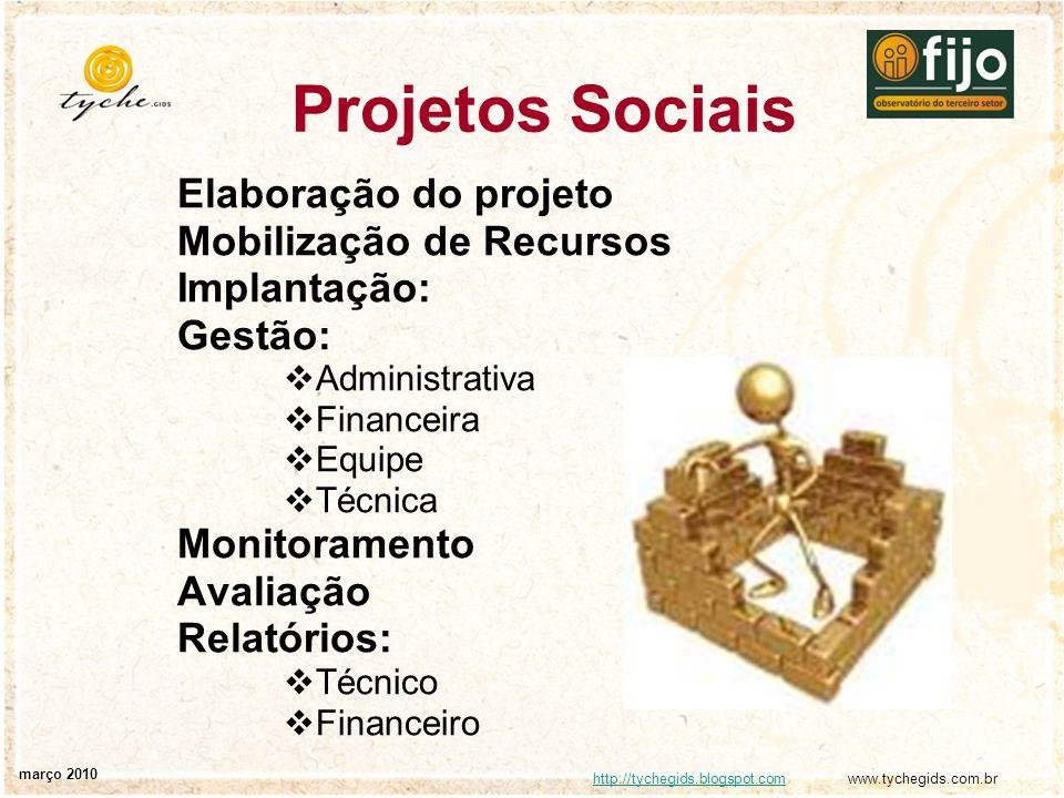 http://tychegids.blogspot.comhttp://tychegids.blogspot.com www.tychegids.com.br março 2010 Projetos Sociais Elaboração do projeto Mobilização de Recur