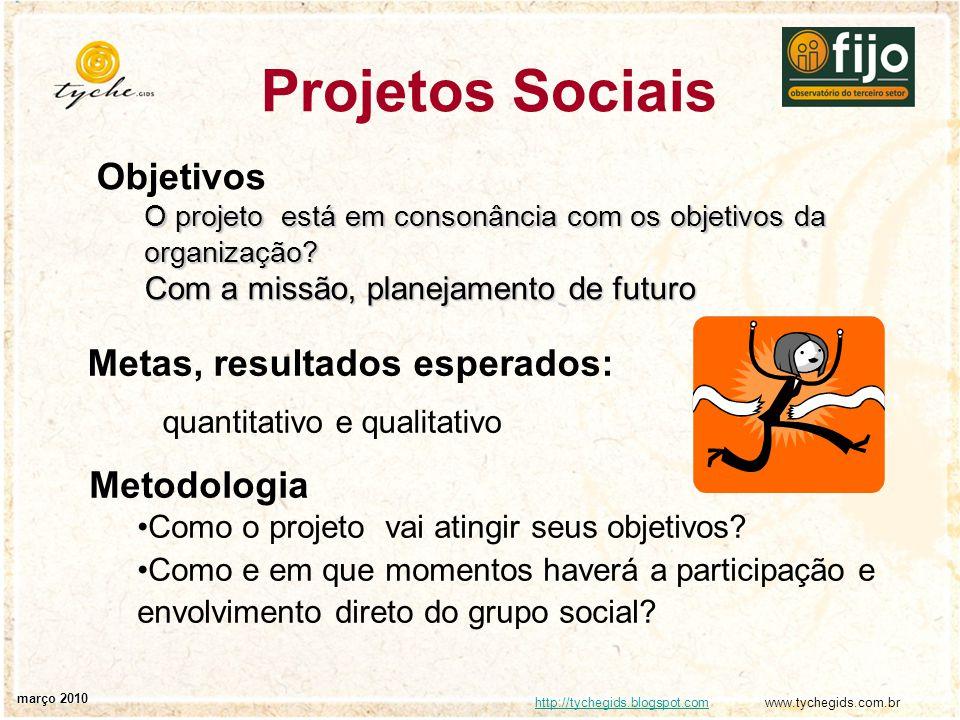http://tychegids.blogspot.comhttp://tychegids.blogspot.com www.tychegids.com.br março 2010 Projetos Sociais Objetivos O projeto está em consonância co