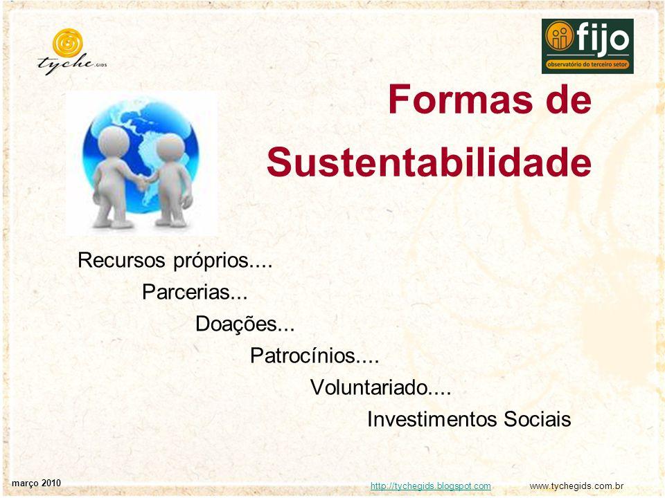 http://tychegids.blogspot.comhttp://tychegids.blogspot.com www.tychegids.com.br março 2010 Formas de Sustentabilidade Recursos próprios.... Parcerias.