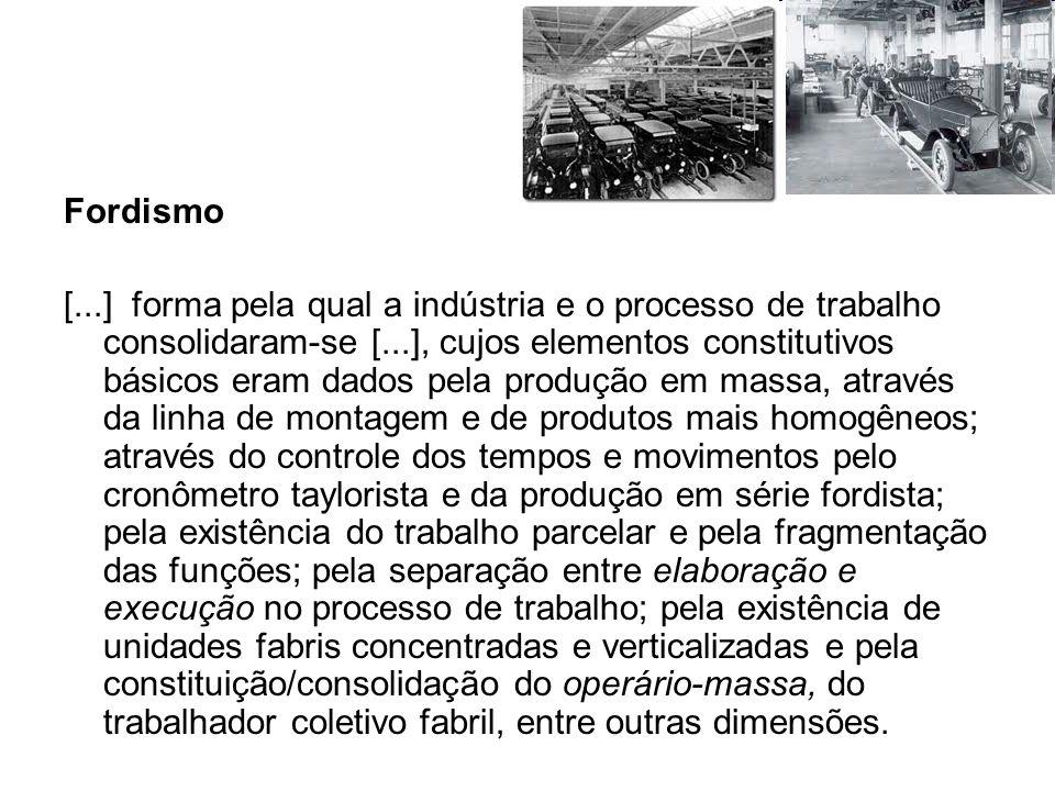 Fordismo [...] forma pela qual a indústria e o processo de trabalho consolidaram-se [...], cujos elementos constitutivos básicos eram dados pela produ