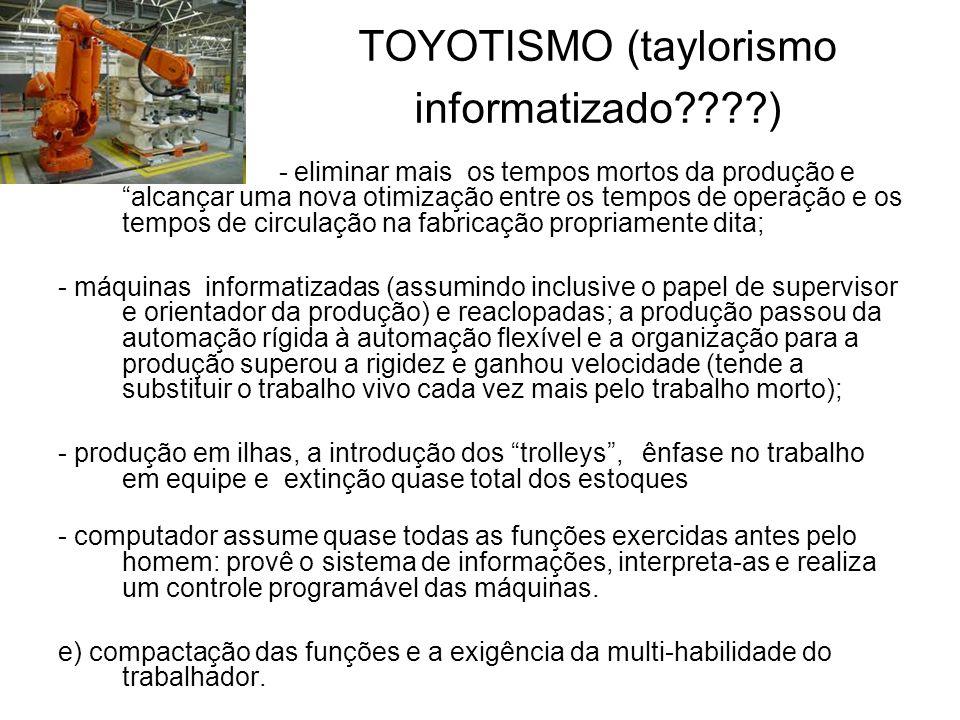TOYOTISMO (taylorismo informatizado????) - eliminar mais os tempos mortos da produção e alcançar uma nova otimização entre os tempos de operação e os