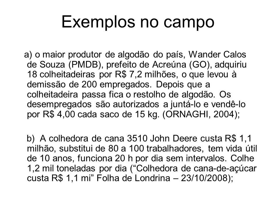 Exemplos no campo a) o maior produtor de algodão do país, Wander Calos de Souza (PMDB), prefeito de Acreúna (GO), adquiriu 18 colheitadeiras por R$ 7,2 milhões, o que levou à demissão de 200 empregados.