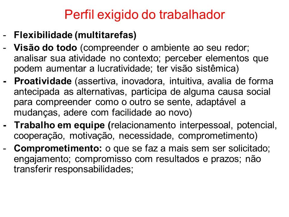 Perfil exigido do trabalhador -Flexibilidade (multitarefas) -Visão do todo (compreender o ambiente ao seu redor; analisar sua atividade no contexto; p