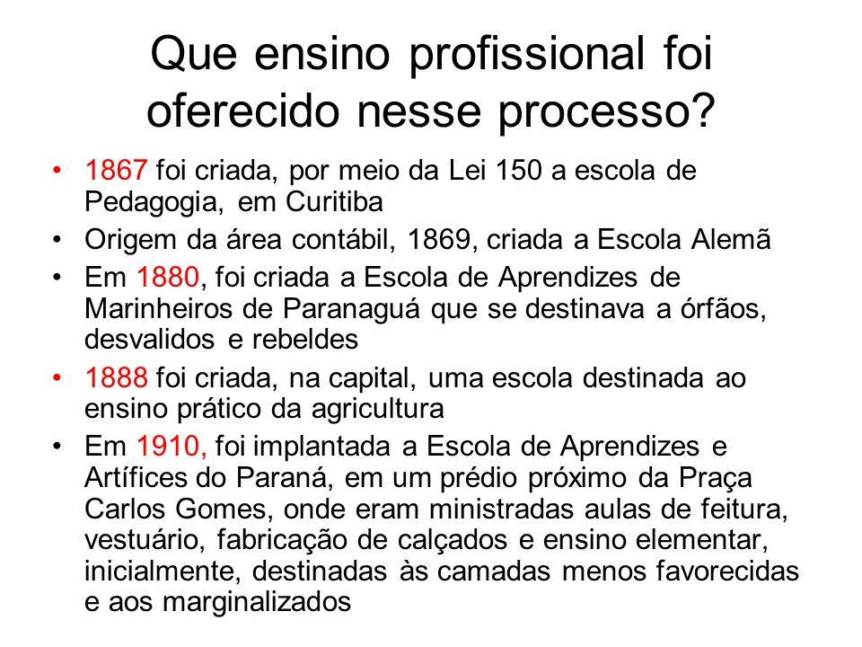 Que ensino profissional foi oferecido nesse processo? 1867 foi criada, por meio da Lei 150 a escola de Pedagogia, em Curitiba Origem da área contábil,