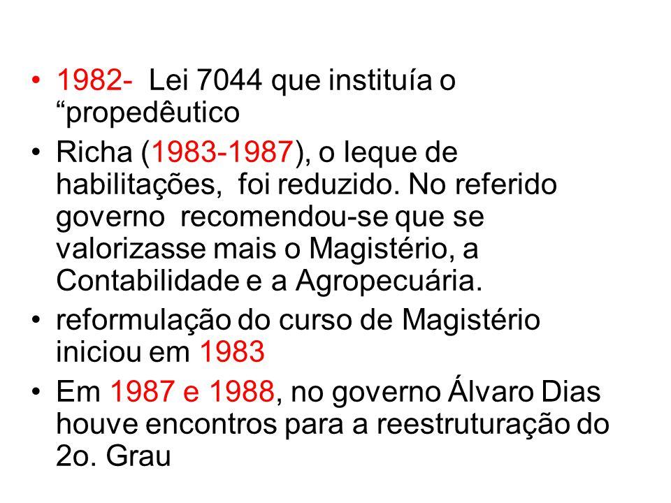 1982- Lei 7044 que instituía o propedêutico Richa (1983-1987), o leque de habilitações, foi reduzido. No referido governo recomendou-se que se valoriz