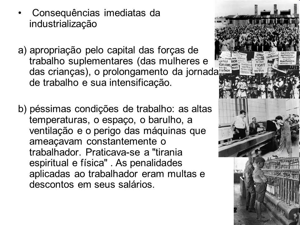 Consequências imediatas da industrialização a) apropriação pelo capital das forças de trabalho suplementares (das mulheres e das crianças), o prolonga