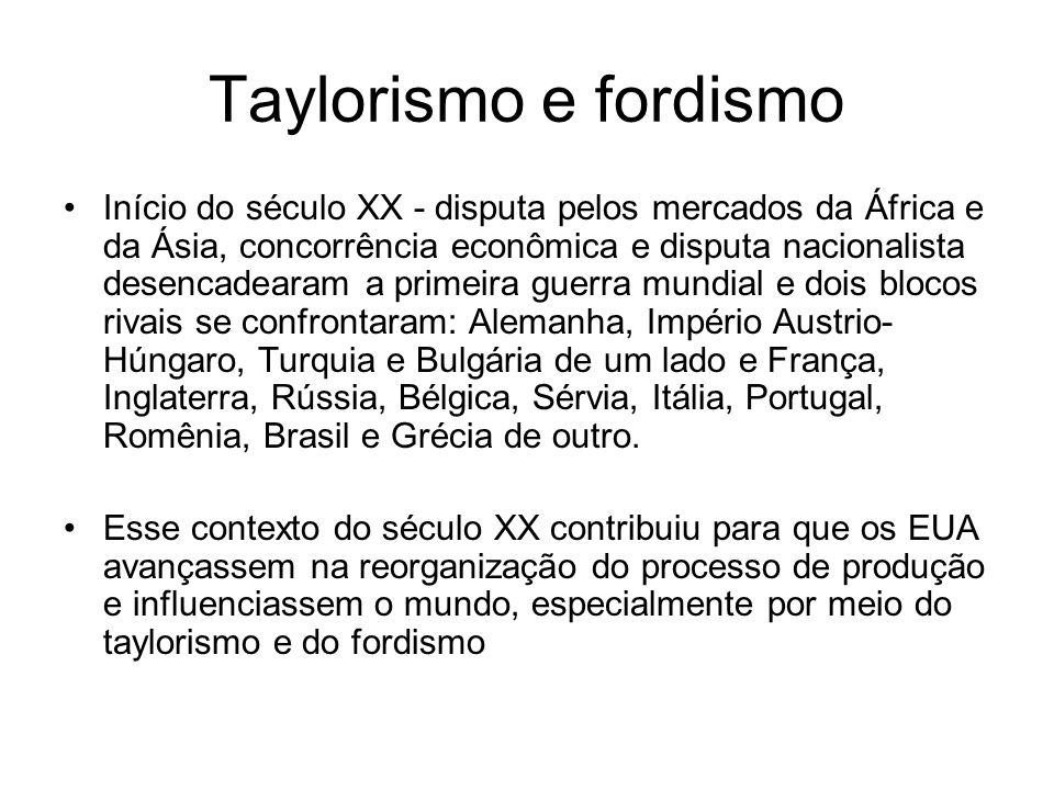 Taylorismo e fordismo Início do século XX - disputa pelos mercados da África e da Ásia, concorrência econômica e disputa nacionalista desencadearam a