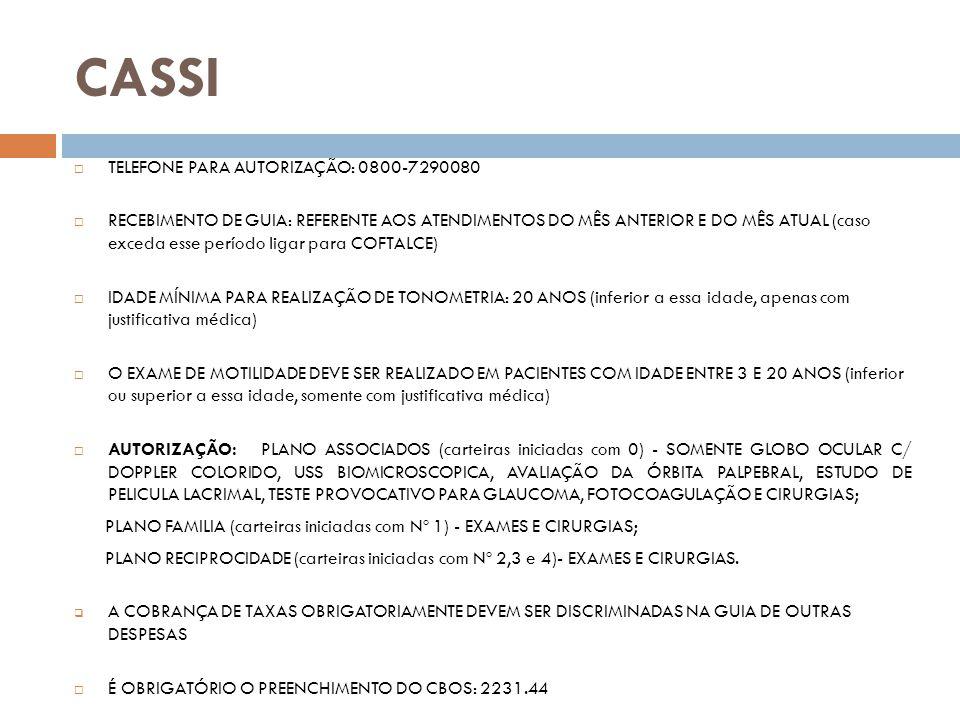 CORREIOS TELEFONE: 4008-7866 (SALUTIS) ou 3255-7247 (CORREIOS) AS GUIAS DEVEM SER PREVIAMENTE AUTORIZADAS PELO CORREIOS OU SALUTIS (inclusive consulta); RECEBIMENTO DE GUIA: REFERENTE AOS ATENDIMENTOS DO MÊS ANTERIOR E DO ATUAL; IDADE MÍNIMA PARA REALIZAÇÃO DE TONOMETRIA: 35 ANOS (inferior a essa idade, apenas com justificativa médica); TODAS AS GUIAS DE EXAMES E CIRURGIAS DEVEM SER COBRADAS COM A SOLICITAÇÃO EM ANEXO; A COBRANÇA DEVE SER FEITA NA PRÓPRIA GUIA DE AUTORIZAÇÃO; AS GUIAS SÃO AUTORIZADAS EM 2 VIAS UMA FICA NA COOPERATIVA PARA PROTOCOLO E OUTRA ENVIADA AOS CORREIOS ; CASO NÃO HAJA ESPAÇO NA GUIA PARA AS TAXAS, PREENCHER EM GUIA DE OUTRAS DESPESAS.