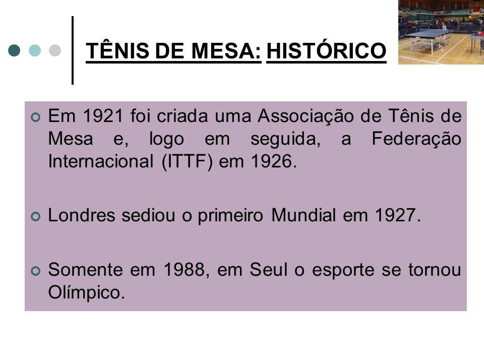 TÊNIS DE MESA: HISTÓRICO Em 1921 foi criada uma Associação de Tênis de Mesa e, logo em seguida, a Federação Internacional (ITTF) em 1926.