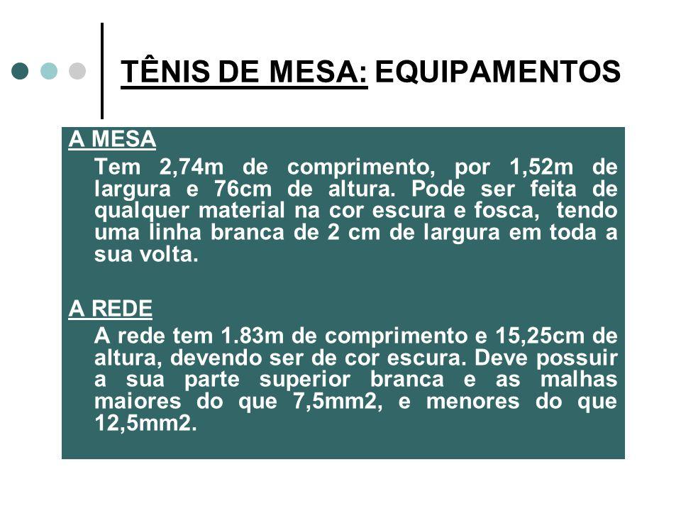 A MESA Tem 2,74m de comprimento, por 1,52m de largura e 76cm de altura.