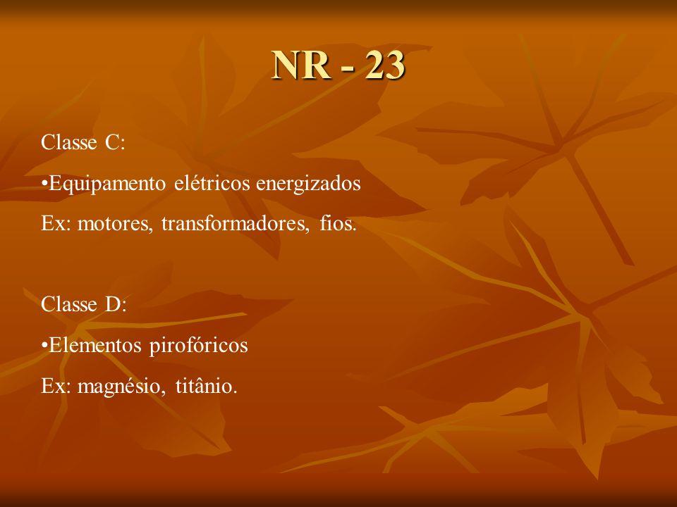 NR - 23 Classe C: Equipamento elétricos energizados Ex: motores, transformadores, fios.