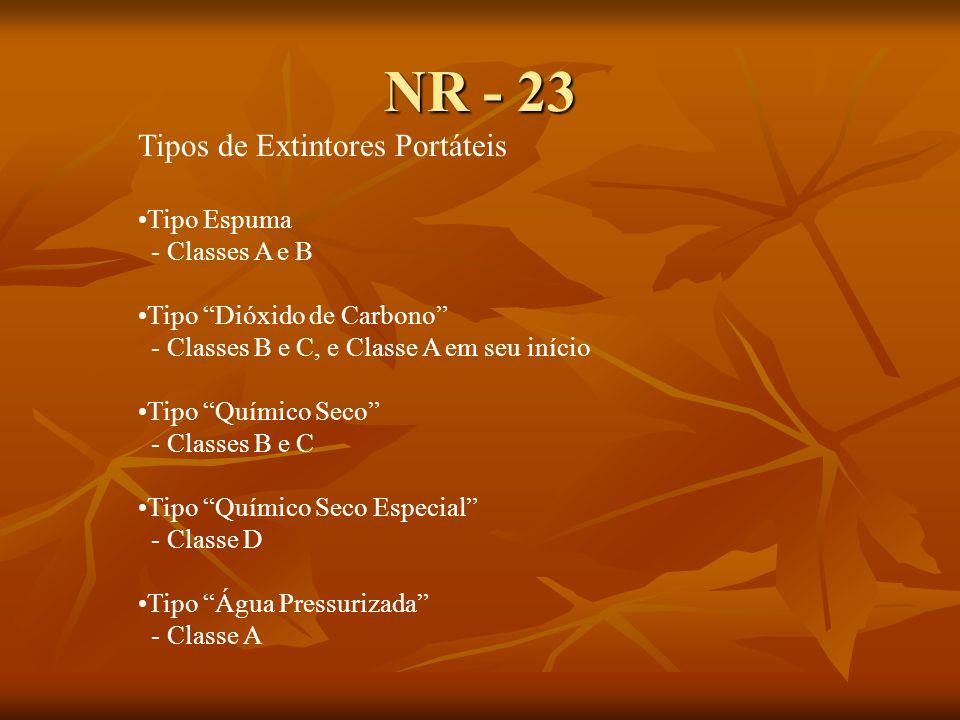 NR - 23 Tipos de Extintores Portáteis Tipo Espuma - Classes A e B Tipo Dióxido de Carbono - Classes B e C, e Classe A em seu início Tipo Químico Seco - Classes B e C Tipo Químico Seco Especial - Classe D Tipo Água Pressurizada - Classe A