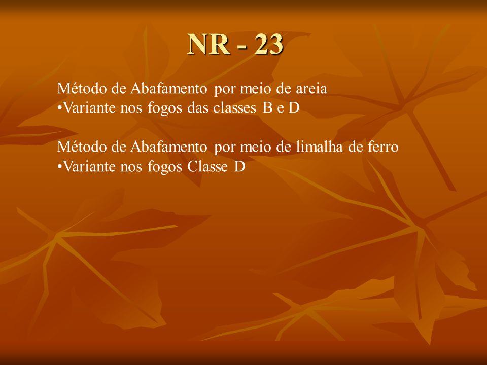 NR - 23 Método de Abafamento por meio de areia Variante nos fogos das classes B e D Método de Abafamento por meio de limalha de ferro Variante nos fogos Classe D