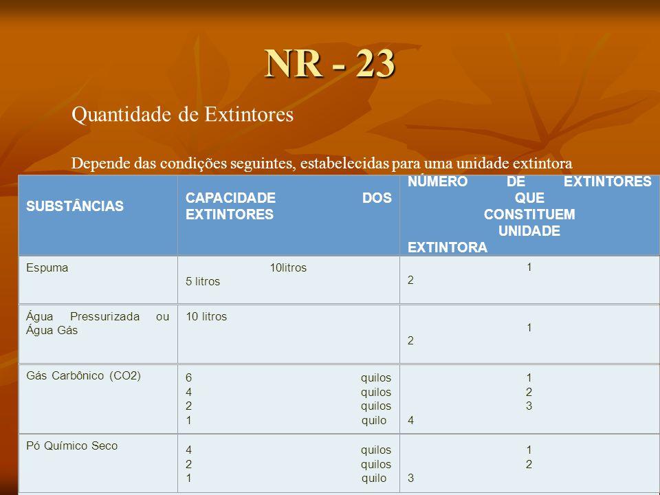 NR - 23 Quantidade de Extintores Depende das condições seguintes, estabelecidas para uma unidade extintora SUBSTÂNCIAS CAPACIDADE DOS EXTINTORES NÚMERO DE EXTINTORES QUE CONSTITUEM UNIDADE EXTINTORA Espuma 10litros 5 litros 1212 Água Pressurizada ou Água Gás 10 litros 1212 Gás Carbônico (CO2) 6 quilos 4 quilos 2 quilos 1 quilo 12341234 Pó Químico Seco 4 quilos 2 quilos 1 quilo 123123
