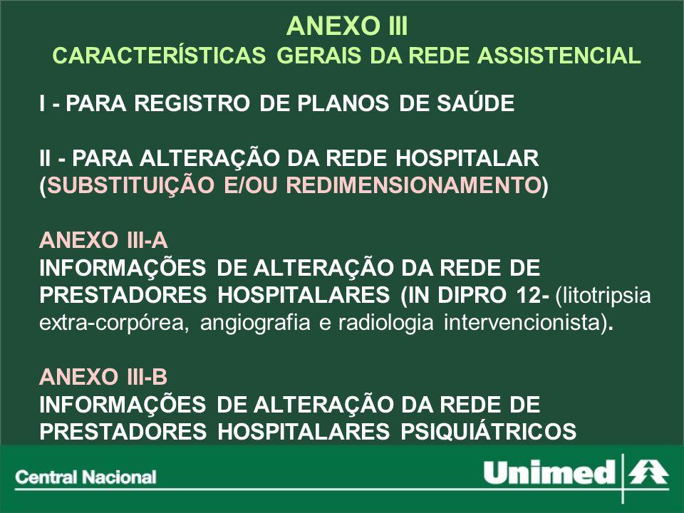 ANEXO III CARACTERÍSTICAS GERAIS DA REDE ASSISTENCIAL I - PARA REGISTRO DE PLANOS DE SAÚDE II - PARA ALTERAÇÃO DA REDE HOSPITALAR (SUBSTITUIÇÃO E/OU R