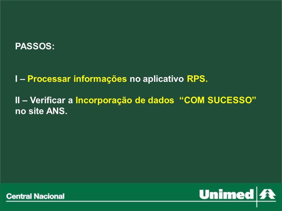 PASSOS: I – Processar informações no aplicativo RPS. II – Verificar a Incorporação de dados COM SUCESSO no site ANS.