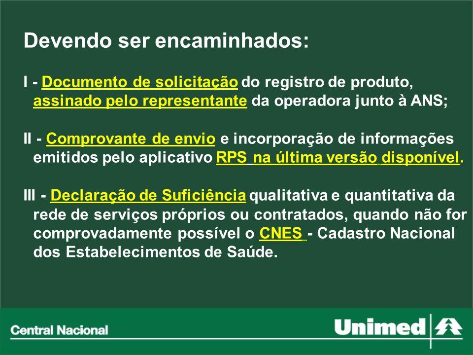Devendo ser encaminhados: I - Documento de solicitação do registro de produto, assinado pelo representante da operadora junto à ANS; II - Comprovante